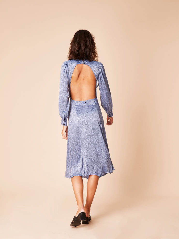 She Is Rebel - Taylor Midi Blue Snake Print Open Back Dress - Shop Stylish Sustainable Women's Dresses