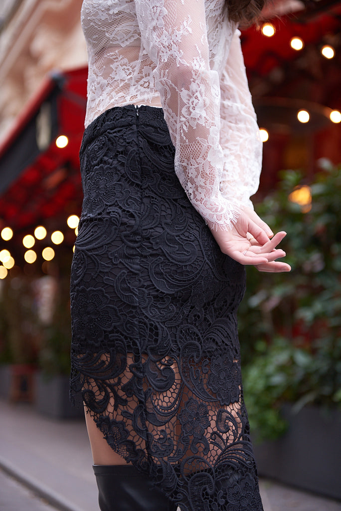 Black Mini Lace Skirt and White Lace Bodysuit - Shop online women's skirts at She Is Rebel