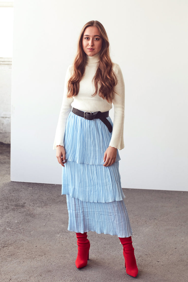 Light Blue Layered/Tiered Flare Skirt - Shop online at She Is Rebel