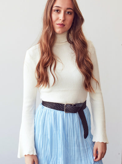 White Ribbed Turtleneck Sweater With Flute Sleeve - Shop online women's turtleneck at She Is Rebel