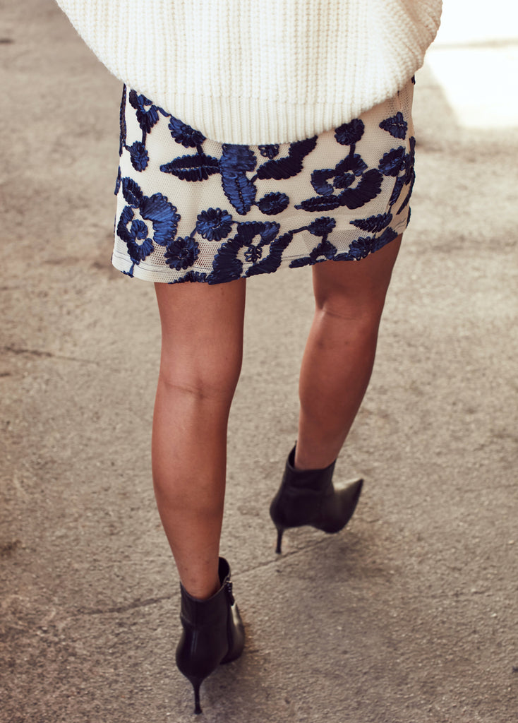 Blue Floral Embroidered Mini Skirt - Shop online women's skirts at She Is Rebel