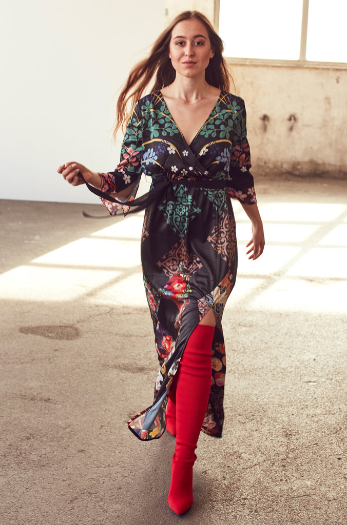 Black Floral Maxi Dress With Waist Tie - Shop online women's dresses at She Is Rebel