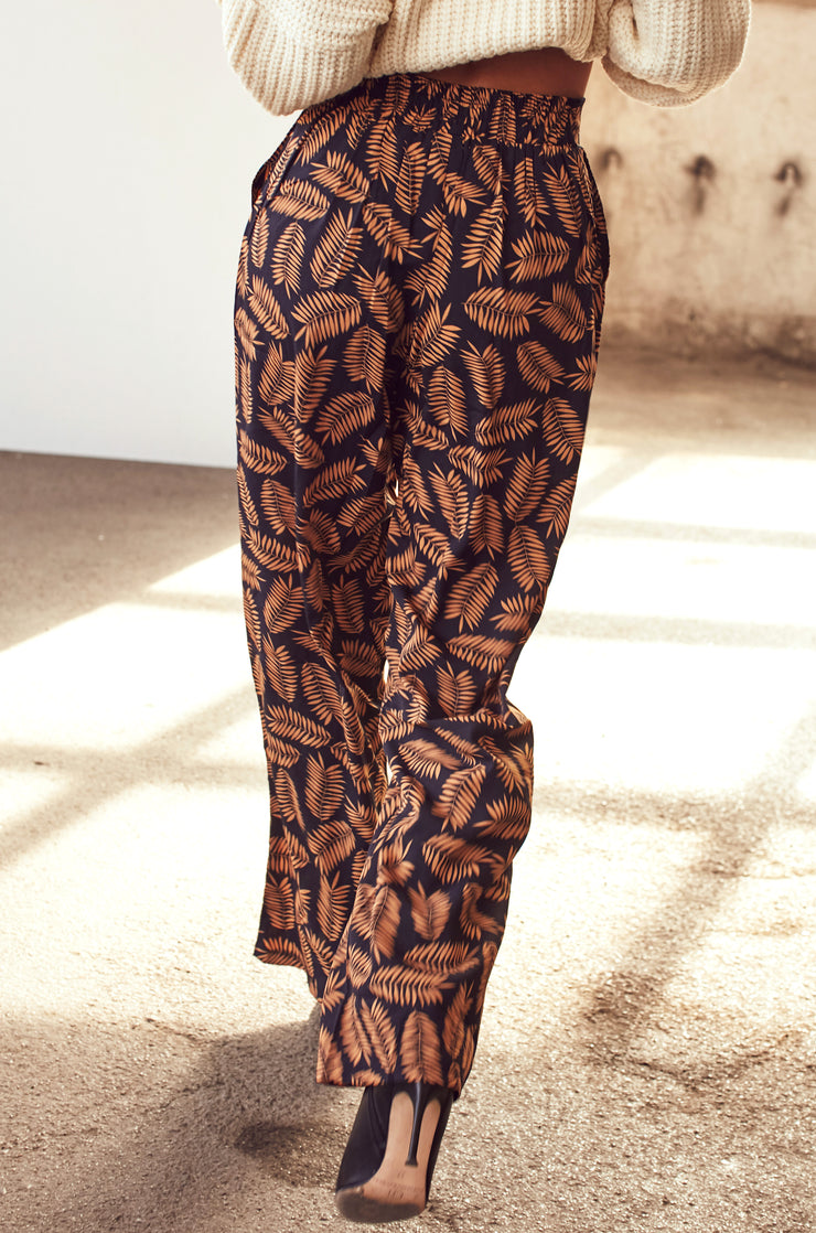 Leaf Print/Floral Black Flared Trousers - Shop online women's trousers at She Is Rebel