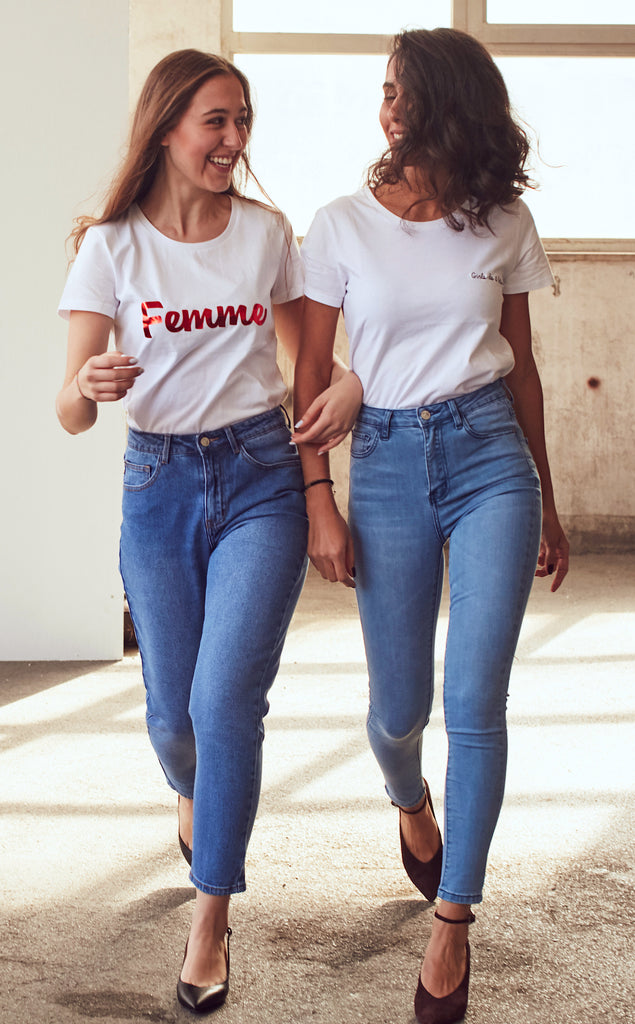 White Cotton T-shirt With Femme Slogan - Shop online women's t-shirt at She Is Rebel