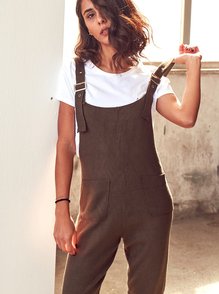 Khaki Strappy Knit Jumpsuit With Pockets - Shop online women's jumpsuits at She Is Rebel
