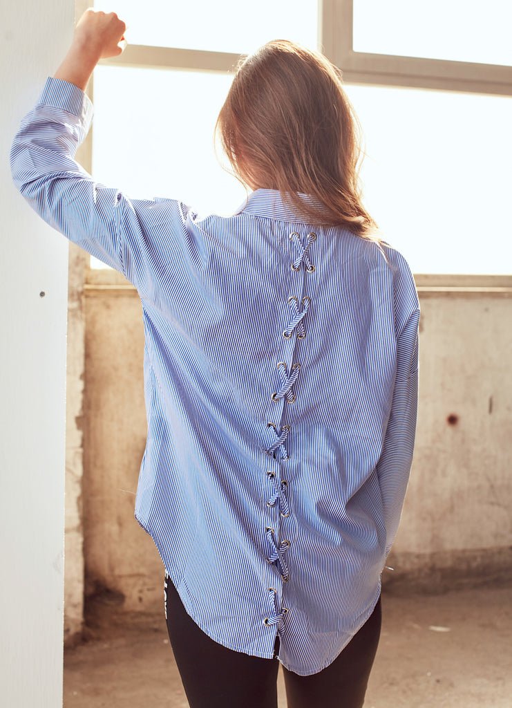 Blue Stripe Shirt With Back Tie - Shop online women's shirts at She Is Rebel
