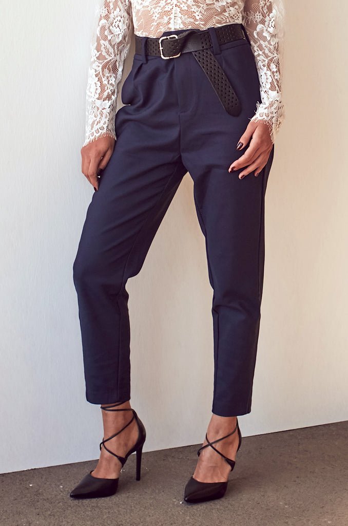 Navy High Rise Trousers - Shop online women's trousers at She Is Rebel