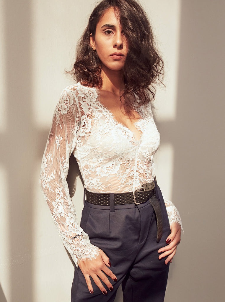 White Lace Bodysuit With Long Sleeves - Shop online women's bodysuit at She Is Rebel