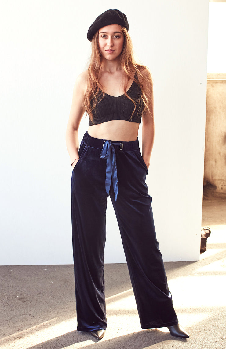 Blue Velvet Trousers - Shop online women's trousers at She Is Rebel