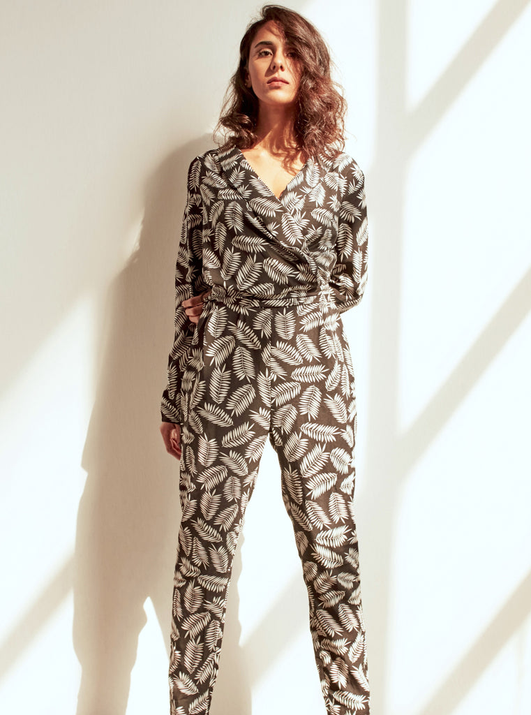 Leaf Print/Floral Crossover Jumpsuit - Shop online women's jumpsuits at She Is Rebel