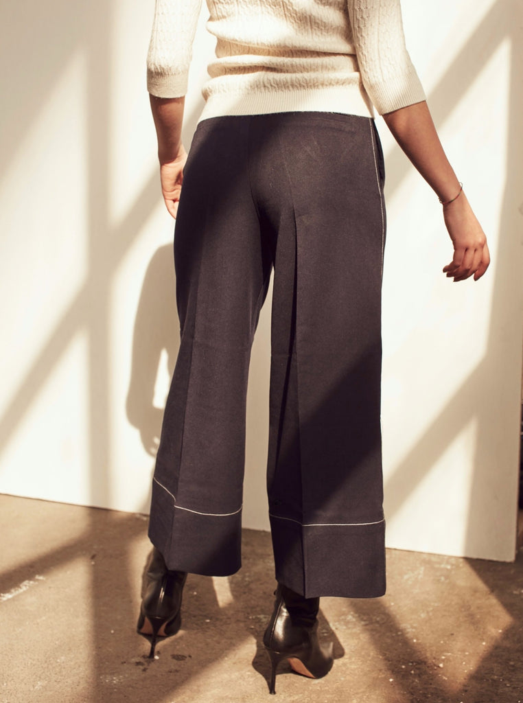 Navy Culottes With White Stitch - Shop online women's trousers at She Is Rebel