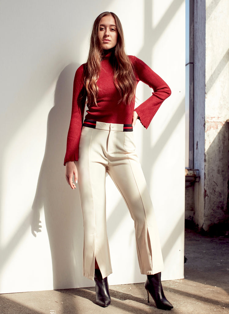 Beige Cropped Trousers With Front Slit - Shop online women's trousers at She Is Rebel