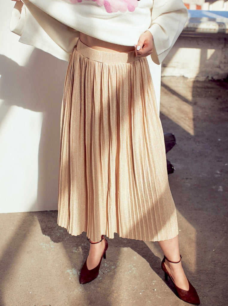 Beige Metallic Midi Pleated Skirt - Shop online women's skirts at She Is Rebel