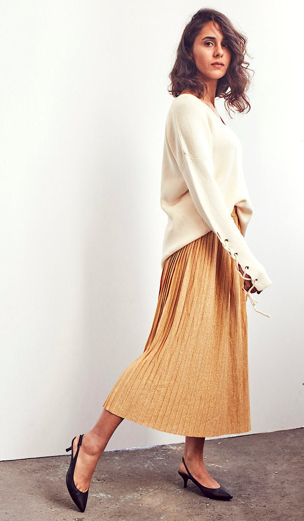 Gold Metallic Midi Pleated Skirt - Shop online women's skirts at She Is Rebel
