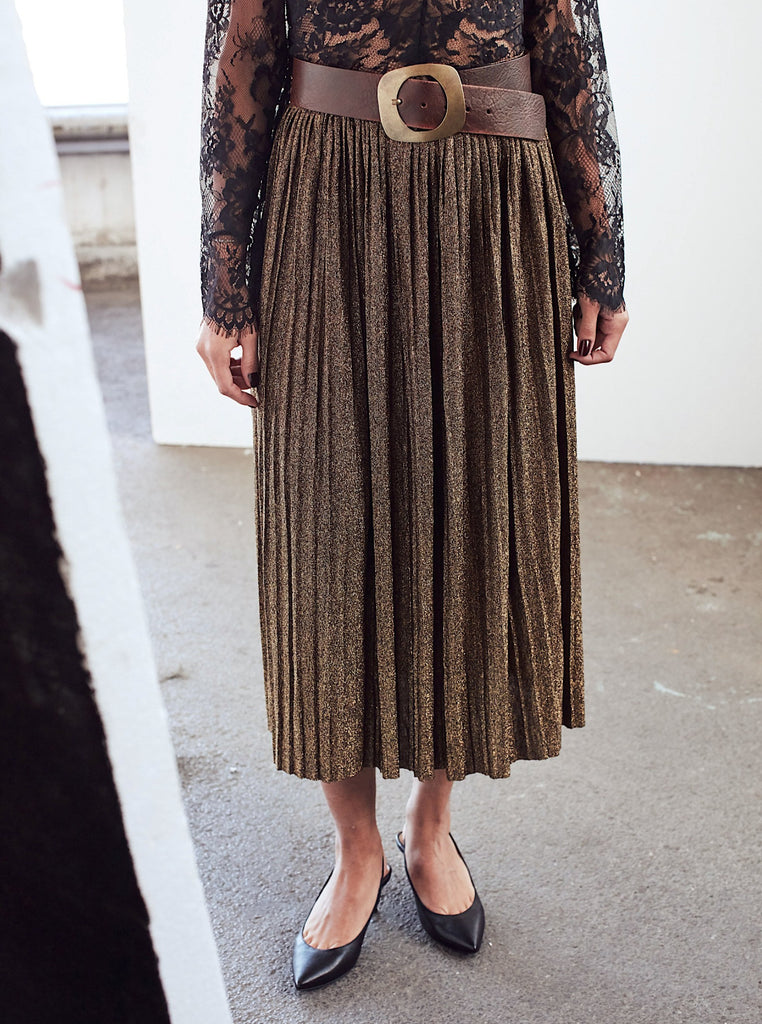 Khaki Midi Metallic Pleated Skirt - Shop online women's skirts at She Is Rebel