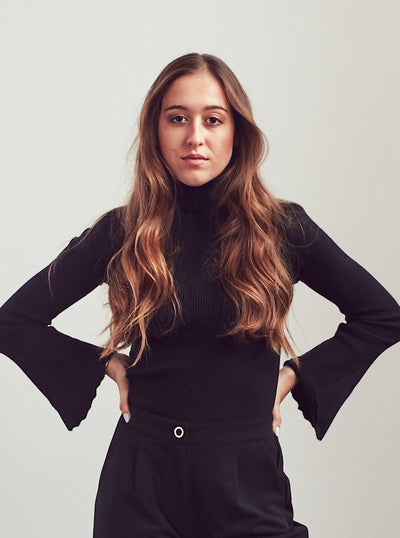 Black Ribbed Turtleneck Sweater With Flute Sleeve - Shop online women's turtleneck at She Is Rebel
