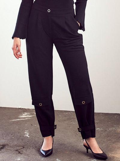 Black Trousers With Button Cuff - Shop online at She Is Rebel