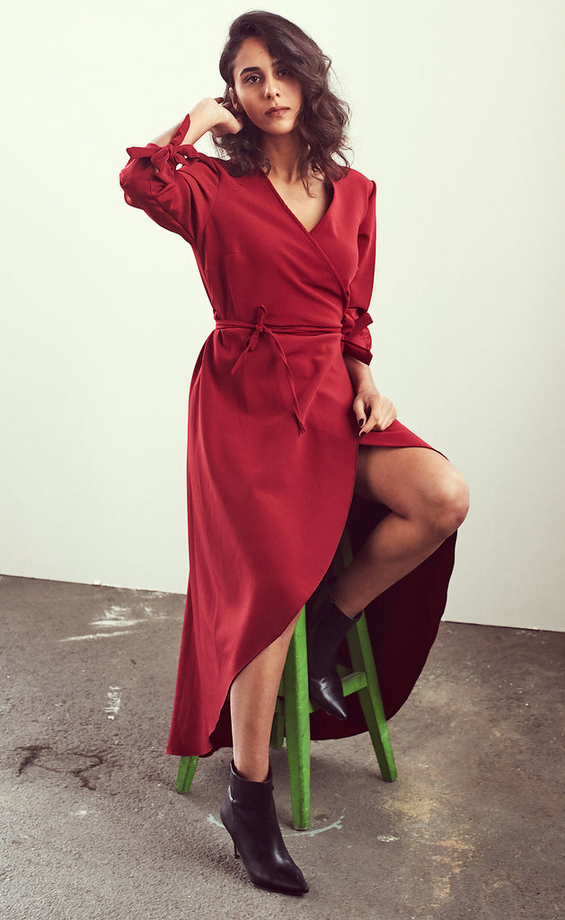 Burgundy Wrap/Envelope Dress With Belt - Shop online women's dresses at She Is Rebel