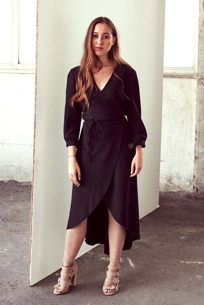 Black Wrap/Envelope Dress With Belt - Shop online women's dresses at She Is Rebel