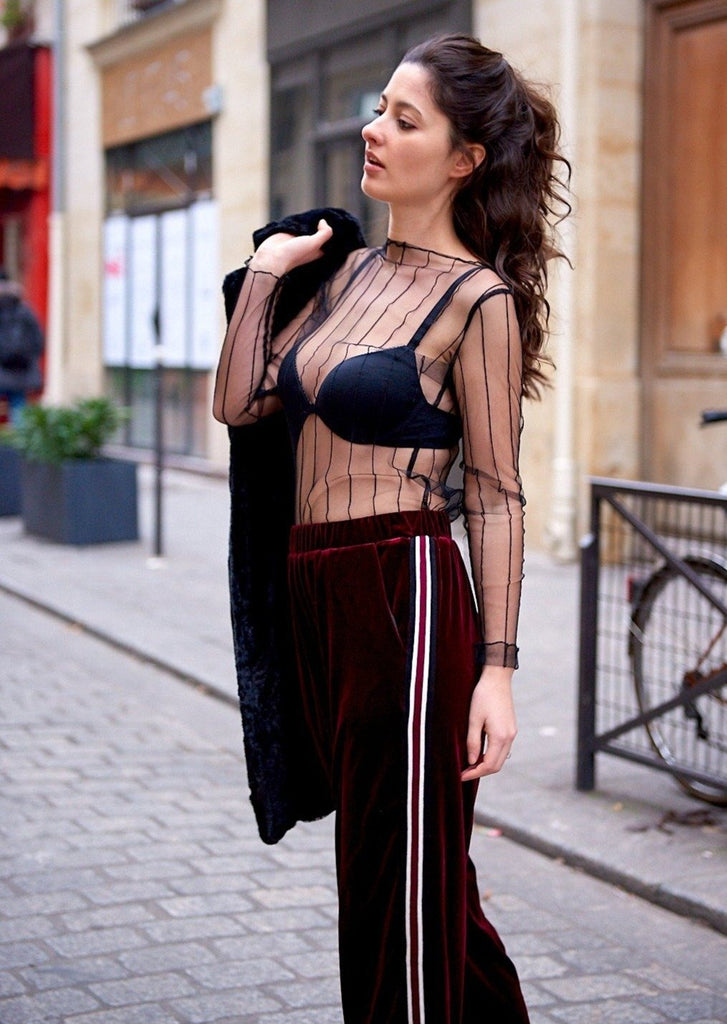 Burgundy Velvet Trousers With Side Stripe and Black Sheer Top - Shop online women's trousers at She Is Rebel