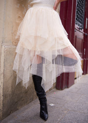 Beige Midi Tulle Skirt - Shop online women's skirts at She Is Rebel