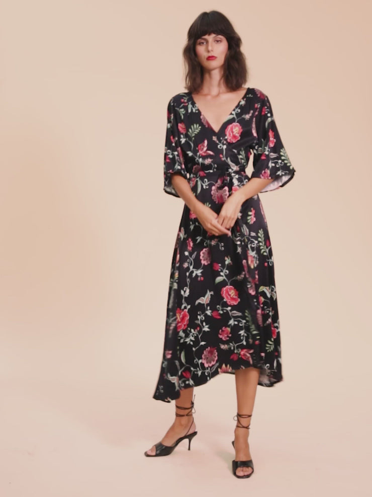 She Is Rebel - Seraphine Midi Black Floral Kimono Sleeve Wrap Dress - Shop Stylish Sustainable Women's Dresses