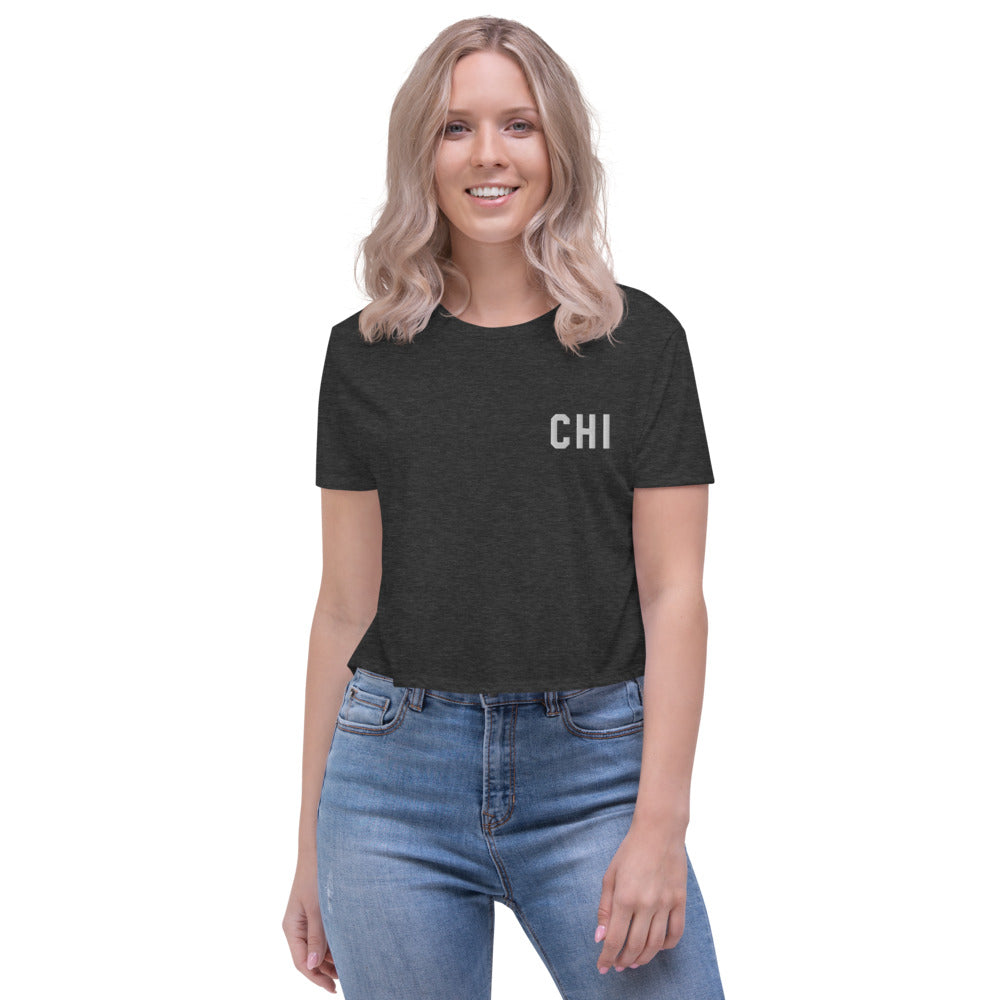 Chicago Embroidered Crop Tee