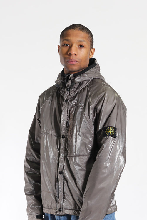 Stone Island A/W 08 Glazed Silk 'Toffee Wrapper' Jacket Silver