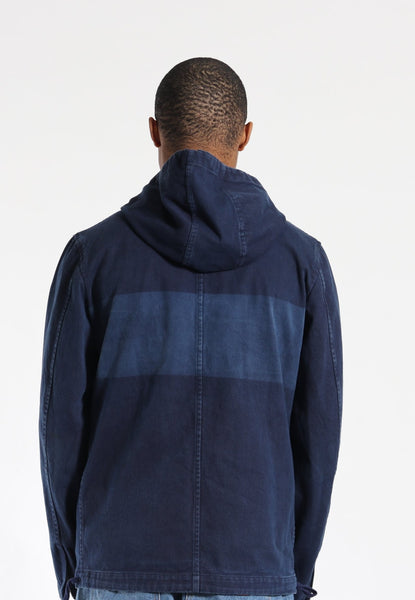 Vintage Comme Des Garcons Homme 2001 Cotton Canvas Hooded Work Jacket Blue