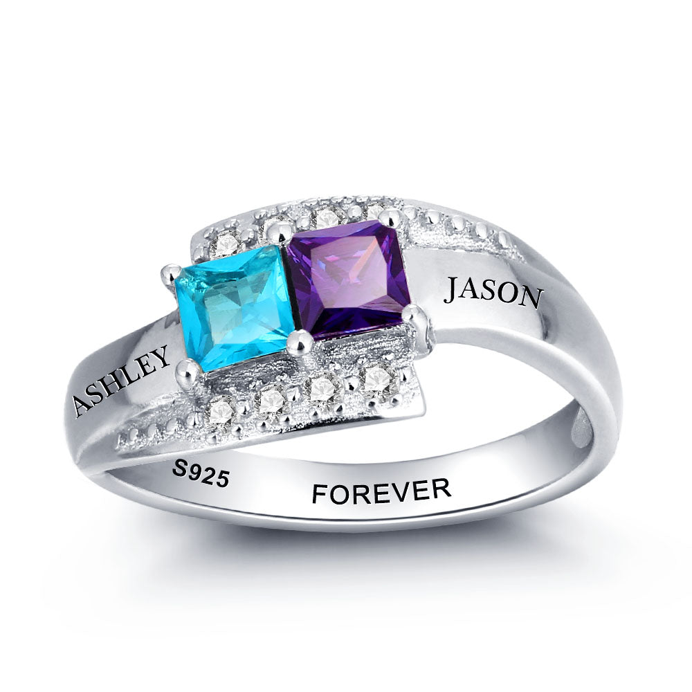 Birthstone Engraved Rings