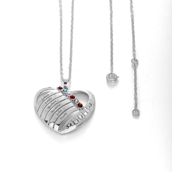 Personalized 925 Sterling Silver Heart Engrave Name Necklace (6 Names)