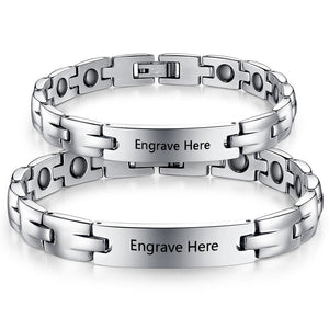 Personalized Stainless Steel Engraved Couple Bracelets (2Psc)