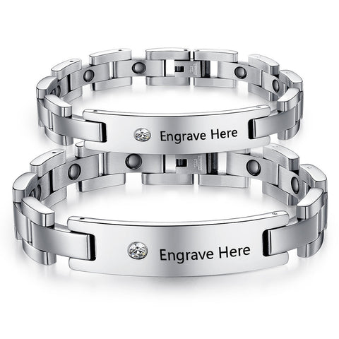Personalized Gem Stainless Steel Engraved Couple Bracelets (2Psc)