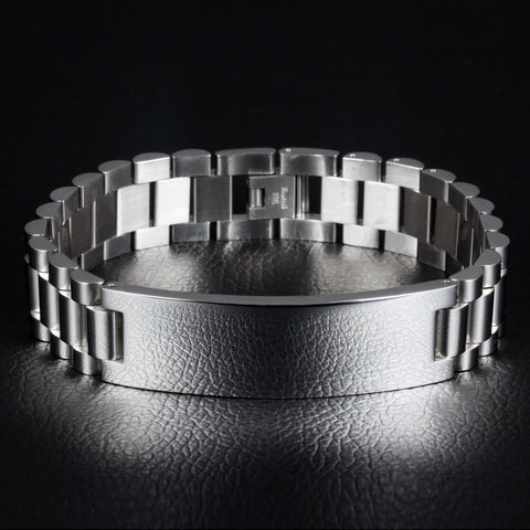 Personalized Stainless Steel Men Engraved Bracelet