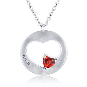 925 Sterling Silver Heart-Shape Birthstone Engraved Necklace