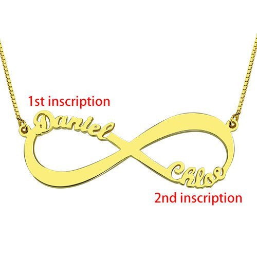 Personalized 925 Sterling Silver Infinity Name Necklace (2 Names)