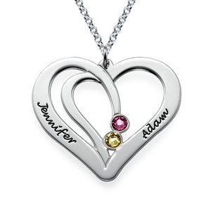925 Sterling Silver Two Hearts Birthstone Engraved Necklace