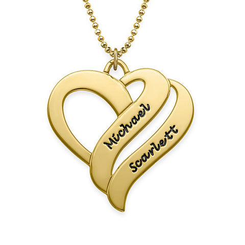 925 Sterling Silver Gold Plated Engraved Two Hearts Necklace