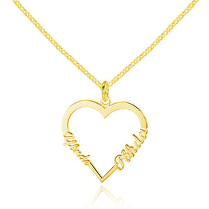Personalized 925 Sterling Silver Heart Name Necklace (2 Names)