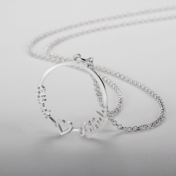 Personalized 925 Sterling Silver Round Circle Name Necklace (2 Names)