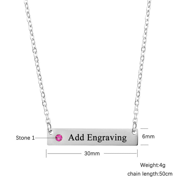 Personalize Birthstone Engraved Bar Necklace