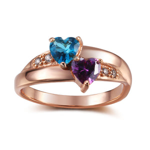 925 Sterling Silver Personalized Heart-Shaped Birthstone Ring (Rose Gold Color)
