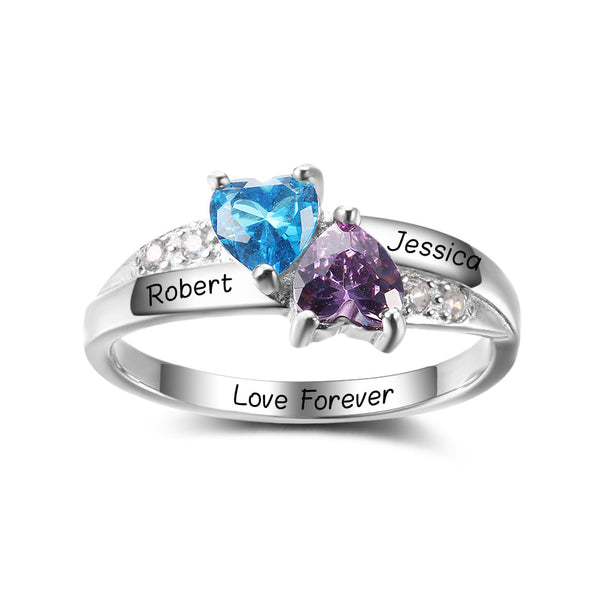 925 Sterling Silver Personalized Heart-Shaped Birthstone Ring (Silver Color)