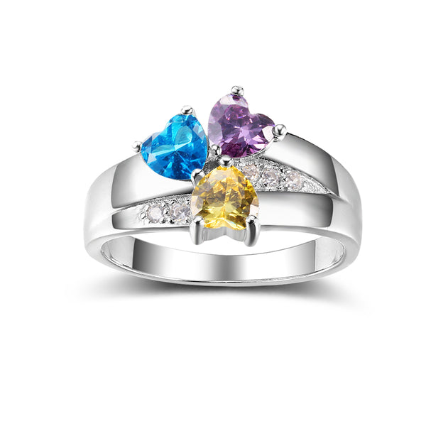 925 Sterling Silver Triple Stones Personalized Birthstone Ring (Silver color)