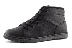 DEZZYS BLACK GLITTER HI TOP CANVAS SNEAKERS