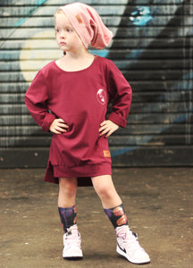 BORDEAUX CHANGE THE WORLD SWEAT/OVER-SIZED DRESS