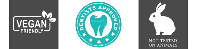 Vegan Friendly, Dentists Approved, Approved by Dentists, Not Tested on Animals, Cruelty Free