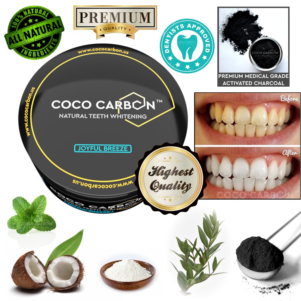 COCO CARBON - JOYFUL BREEZE - No Sensitivity & No Gum Irritation - Premium Natural Activated Charcoal Powder SPEARMINT Tooth Whitener