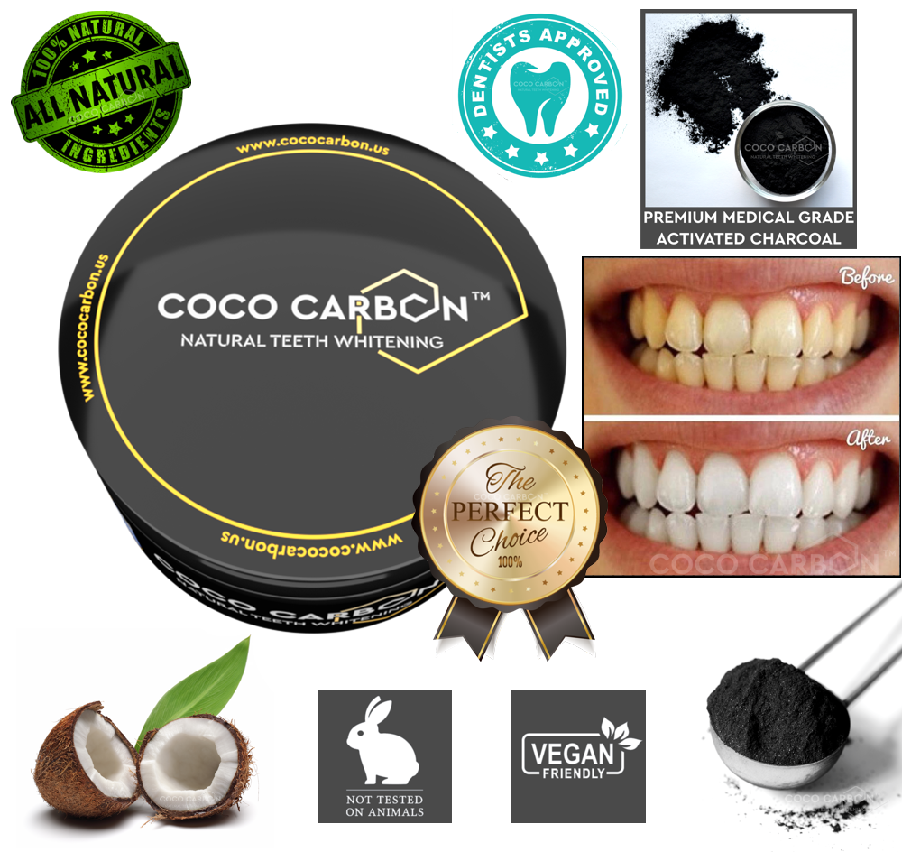 COCO CARBON - No Sensitivity & No Gum Irritation - Natural Activated Charcoal Teeth Whitening Powder Organic Tooth Whitener