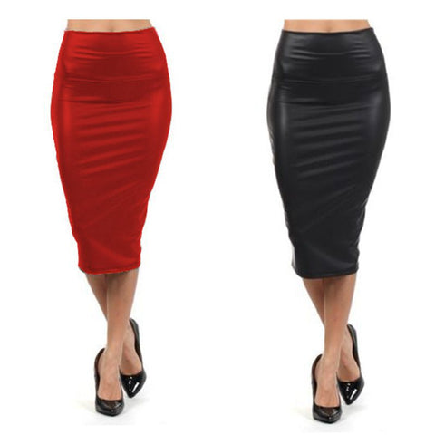 Full Women High Waist Faux Black Leather Knee Length Plus Size Spandex Pencil Skirt